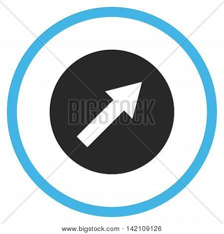 Up-Right Rounded Arrow glyph icon. Style is bicolor flat rounded iconic symbol, up-right rounded arrow icon is drawn with blue and gray colors on a white background.