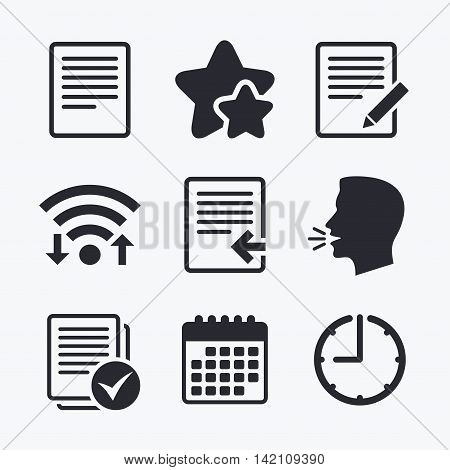 File document icons. Upload file symbol. Edit content with pencil sign. Select file with checkbox. Wifi internet, favorite stars, calendar and clock. Talking head. Vector