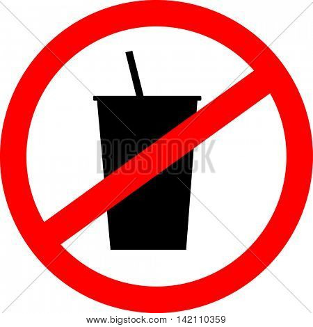 Prohibition sign icon. No drink. Vector illustration.