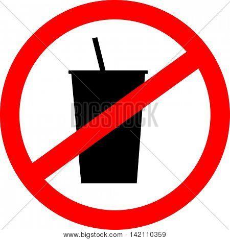 Prohibition sign icon. No drink. Vector illustration.