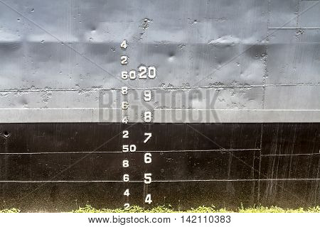 Rayong, Thailand - August 06 2016: The Numbers Levels Are On The Side Of the Prasae Frigate 412 Of Royal Thai Navy Shown As For Tourists At Rayong Province Thailand.