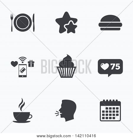 Food and drink icons. Muffin cupcake symbol. Plate dish with fork and knife sign. Hot coffee cup and hamburger. Flat talking head, calendar icons. Stars, like counter icons. Vector