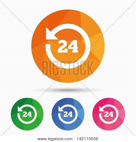24 hours customer service. Round the clock support symbol. Triangular low poly button with flat icon. Vector