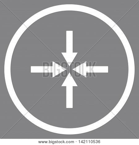 Impact Arrows vector icon. Style is flat rounded iconic symbol, impact arrows icon is drawn with white color on a gray background.