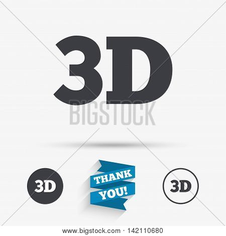 3D sign icon. 3D New technology symbol. Flat icons. Buttons with icons. Thank you ribbon. Vector