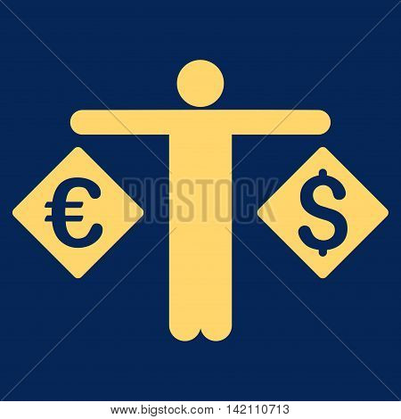 Currency Trader icon. Vector style is flat iconic symbol with rounded angles, yellow color, blue background.