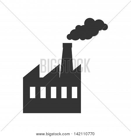 factory industry building steam chimney tower production vector graphic isolated and flat illustration