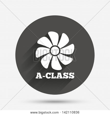 A-class ventilation icon. Energy efficiency sign symbol. Circle flat button with shadow. Vector