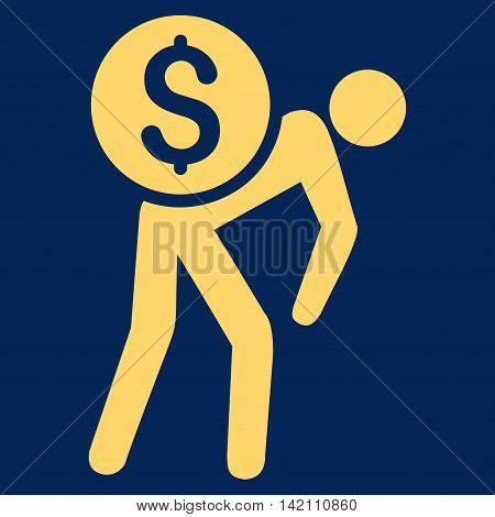 Financial Courier icon. Vector style is flat iconic symbol with rounded angles, yellow color, blue background.