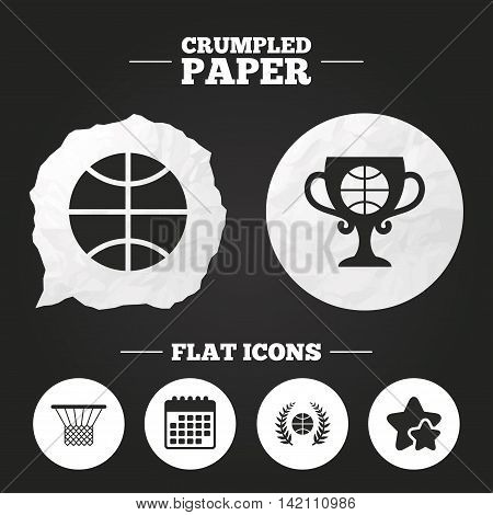 Crumpled paper speech bubble. Basketball sport icons. Ball with basket and award cup signs. Laurel wreath symbol. Paper button. Vector