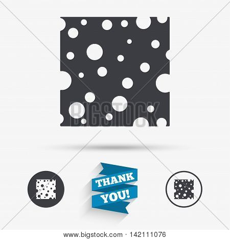 Cheese sign icon. Slice of cheese symbol. Square cheese with holes. Flat icons. Buttons with icons. Thank you ribbon. Vector