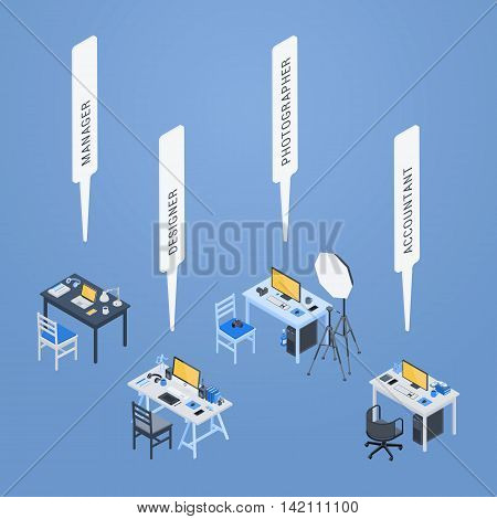 Workplaces of the manager, designer, photographer and accountant. 3D isometric vector concept illustration