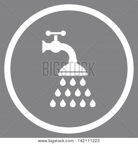 Shower Tap vector icon. Style is flat rounded iconic symbol, shower tap icon is drawn with white color on a gray background.