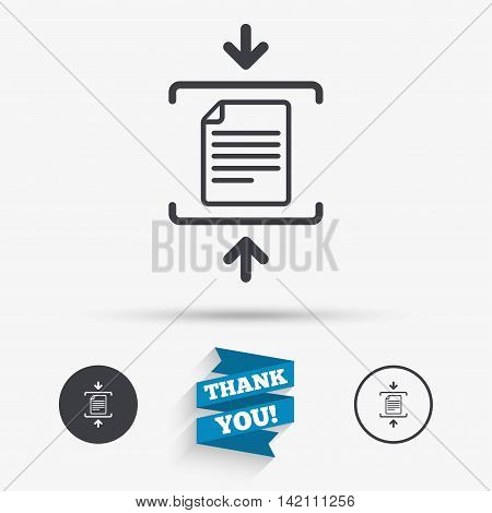 Archive file sign icon. Compressed zipped file symbol. Arrows. Flat icons. Buttons with icons. Thank you ribbon. Vector