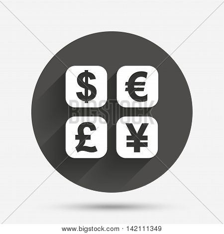 Currency exchange sign icon. Currency converter symbol. Money label. Circle flat button with shadow. Vector