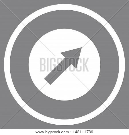 Up-Right Rounded Arrow vector icon. Style is flat rounded iconic symbol, up-right rounded arrow icon is drawn with white color on a gray background.