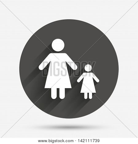 One-parent family with one child sign icon. Mother with daughter symbol. Circle flat button with shadow. Vector
