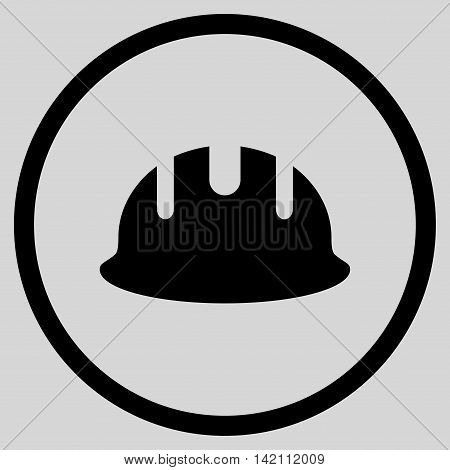 Builder Hardhat vector icon. Style is flat rounded iconic symbol, builder hardhat icon is drawn with black color on a light gray background.