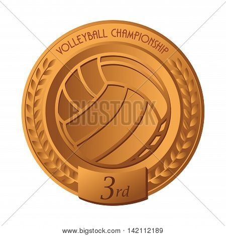 volleyball medal ball winner champion place best competition vector graphic isolated  illustration