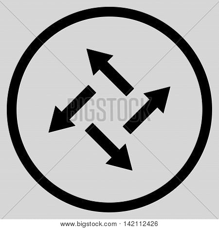 Centrifugal Arrows vector icon. Style is flat rounded iconic symbol, centrifugal arrows icon is drawn with black color on a light gray background.