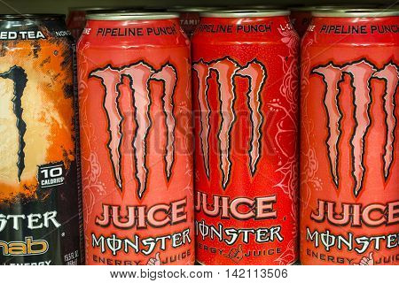Indianapolis - Circa August 2016: Monster Beverage Display. Monster Corporation manufactures energy drinks including Monster Energy I