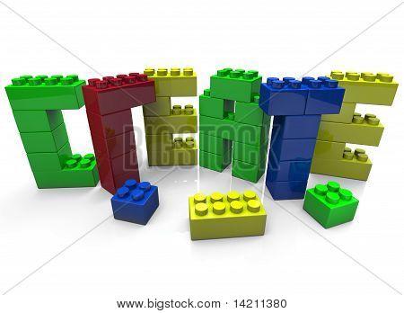 Crear - palabra construida en bloques de juguete