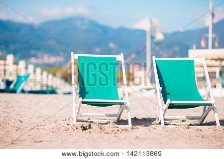 Deckchairs on european beach in Italy, Forte
