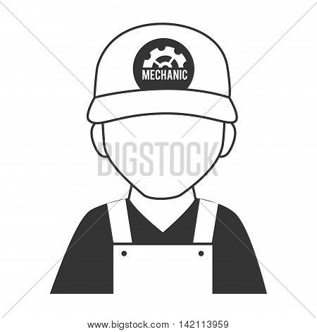 mechanic man cap overall repairman gear tool service vector graphic isolated and flat illustration