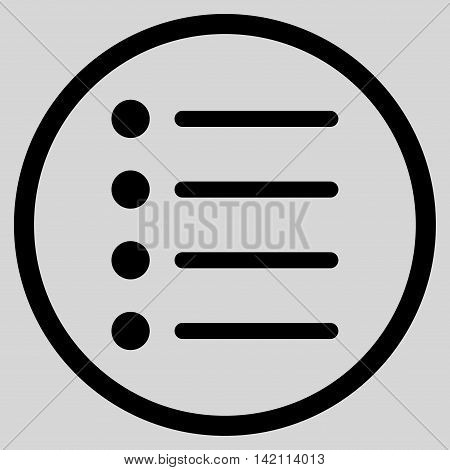 Items vector icon. Style is flat rounded iconic symbol, items icon is drawn with black color on a light gray background.
