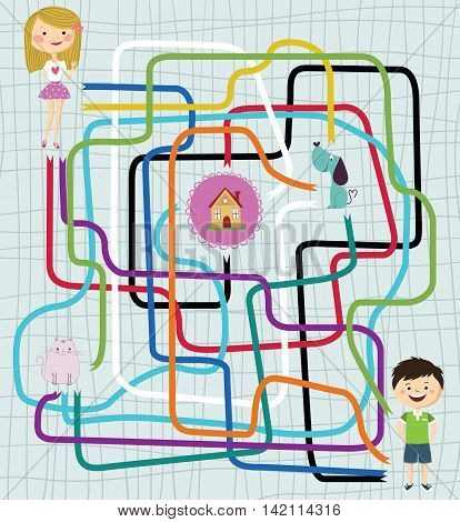 Path Finder Maze Game with Girl, Boy, Cat, Dog and House