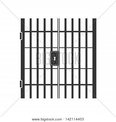 jail bars key hole lock nobody crime law jailhouse vector graphic isolated and flat illustration
