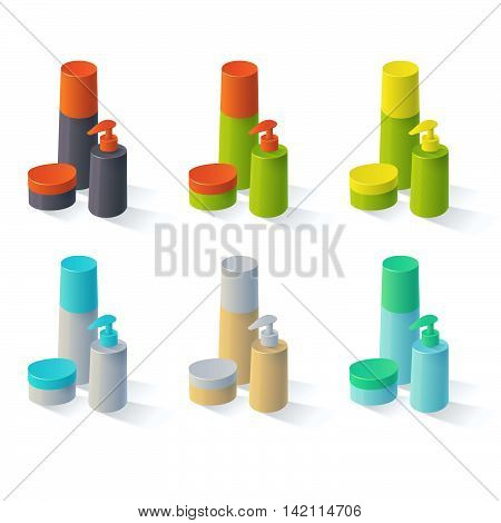 Set of colorful cosmetic isolated product. Collection for cream. Shampoo. Lotion bottle. Branding. Plastic or lotion tube. Mock up.