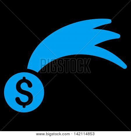 Lucky Money icon. Glyph style is flat iconic symbol with rounded angles, blue color, black background.