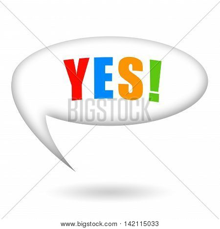 Yes, speech bubble isolated on white background