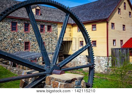 Marshallton DE - April 4 2013: The Greenbank Mill is a historic grist mill located at Marshallton New Castle County Delaware and is listed on the National Register of Historic Places.