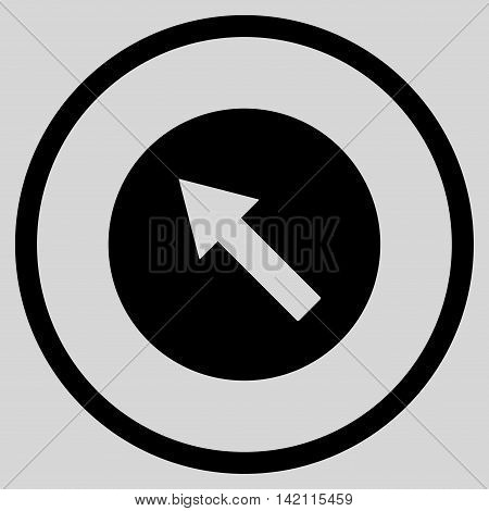 Up-Left Rounded Arrow vector icon. Style is flat rounded iconic symbol, up-left rounded arrow icon is drawn with black color on a light gray background.