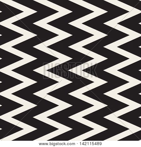 Vector Seamless Black and White ZigZag Lines Geometric Pattern. Abstract Geometric Background Design