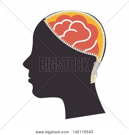 head brain profile zipper zip human nose vector graphic illustration isolated