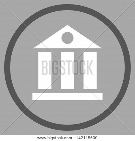 Bank Building vector icon. Style is bicolor flat rounded iconic symbol, bank building icon is drawn with dark gray and white colors on a silver background.