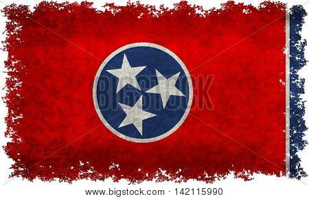 State flag of Tennessee with distressed textures and edges