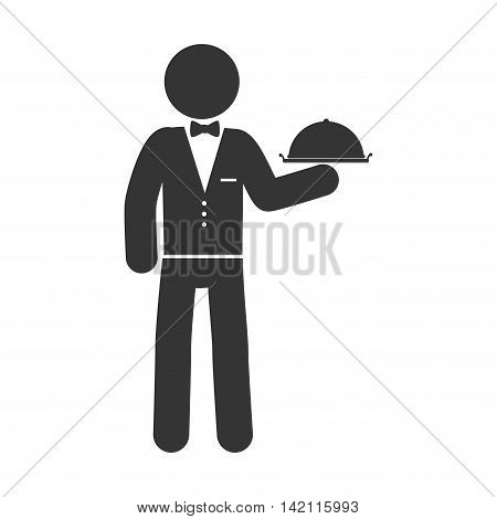 waitress catering man suit bow tie plate service vector graphic isolated illustration