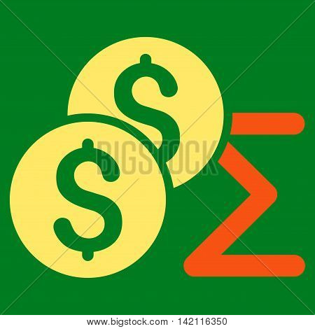 Coin Summary icon. Vector style is bicolor flat iconic symbol with rounded angles, orange and yellow colors, green background.