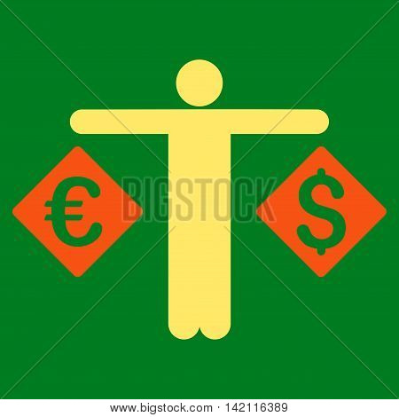 Currency Trader icon. Vector style is bicolor flat iconic symbol with rounded angles, orange and yellow colors, green background.