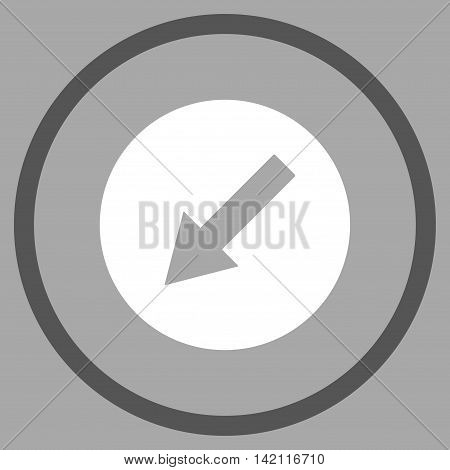 Down-Left Rounded Arrow vector icon. Style is bicolor flat rounded iconic symbol, down-left rounded arrow icon is drawn with dark gray and white colors on a silver background.
