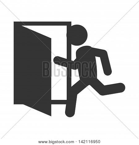exit run door emergency escape sign icon vector graphic isolated illustration