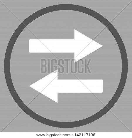 Horizontal Flip Arrows vector icon. Style is bicolor flat rounded iconic symbol, horizontal flip arrows icon is drawn with dark gray and white colors on a silver background.