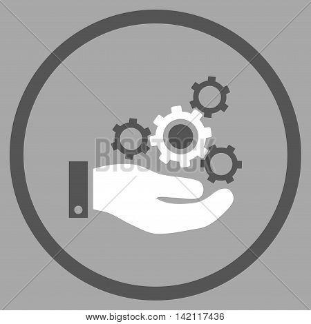Mechanics Service vector icon. Style is bicolor flat rounded iconic symbol, mechanics service icon is drawn with dark gray and white colors on a silver background.