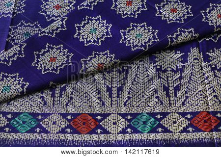 Blue Sarong with traditional Sarawak pattern printed