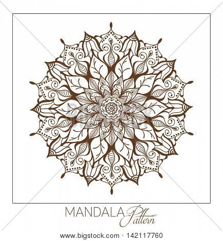Monochrome Mandala. Vector Decorative round ornament. Element for coloring book. Element for a poster of Yoga and meditation.