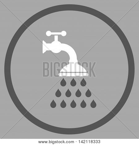 Shower Tap vector icon. Style is bicolor flat rounded iconic symbol, shower tap icon is drawn with dark gray and white colors on a silver background.